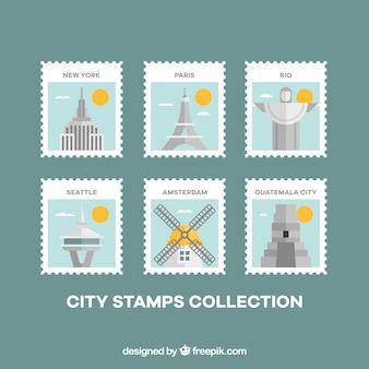 Fantastiques timbres de villes avec détails en jaune