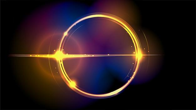 Fantasy circular golden light background