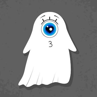 Fantôme borgne sur fond gris foncé personnage mignon love kiss halloween