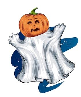 Fantôme avec citrouille d'halloween peur horreur et vacances d'automne