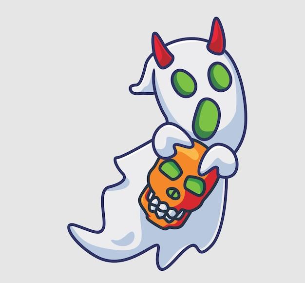 Un fantôme à cornes mignon apporte un crâne illustration d'halloween de dessin animé isolé style plat