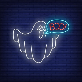 Fantôme disant boo enseigne au néon