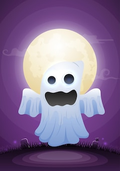 Fantôme d'halloween au clair de lune et au cimetière. joyeux fond d'halloween pour la bannière du site web, les dépliants, l'invitation, les affiches, la brochure ou le matériel promotionnel.