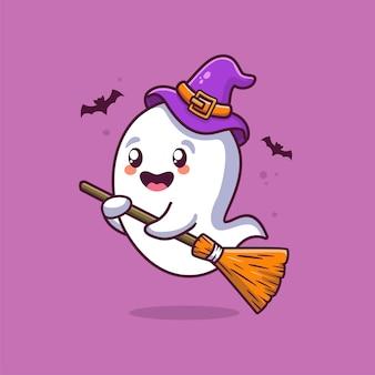 Fantôme d'halloween avec dessin animé fantôme illustration balai portant un chapeau de sorcière