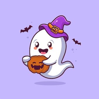 Fantôme d'halloween mignon tenant une illustration de dessin animé de citrouille