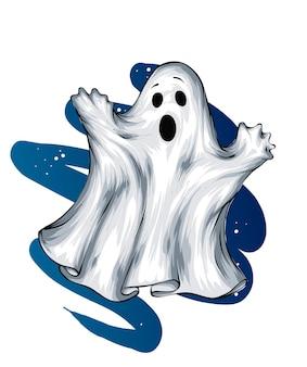 Fantôme Halloween Peur Horreur Et Vacances D'automne Vecteur Premium