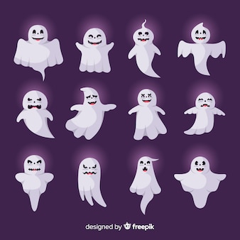 Fantôme halloween plat avec collection de luminescence externe