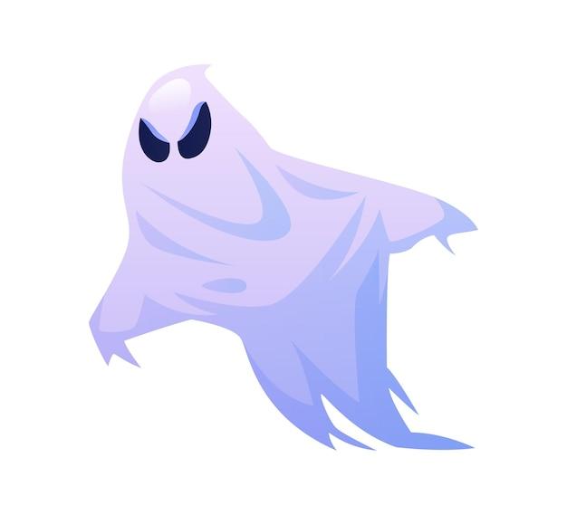 Fantôme d'halloween avec un regard furieux isolé monstre maléfique de la veille de tous les saints en costume de fête d'octobre
