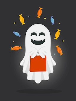 Fantôme mignon de bande dessinée avec sac et bonbons.