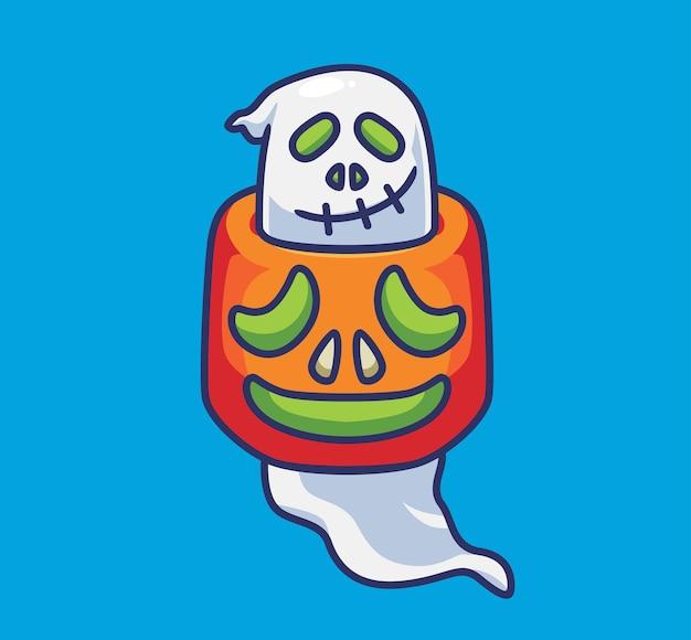 Fantôme mignon coincé sur une citrouille géante dessin animé isolé illustration d'halloween style plat