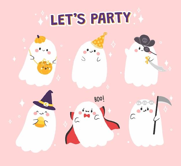 Fantôme mignon dans la collection de fête d'halloween.