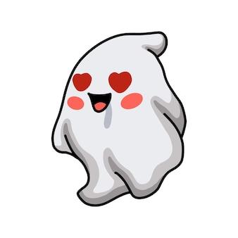 Fantôme mignon de dessin animé amoureux