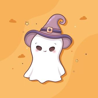 Fantôme mignon avec halloween vecteur gratuit