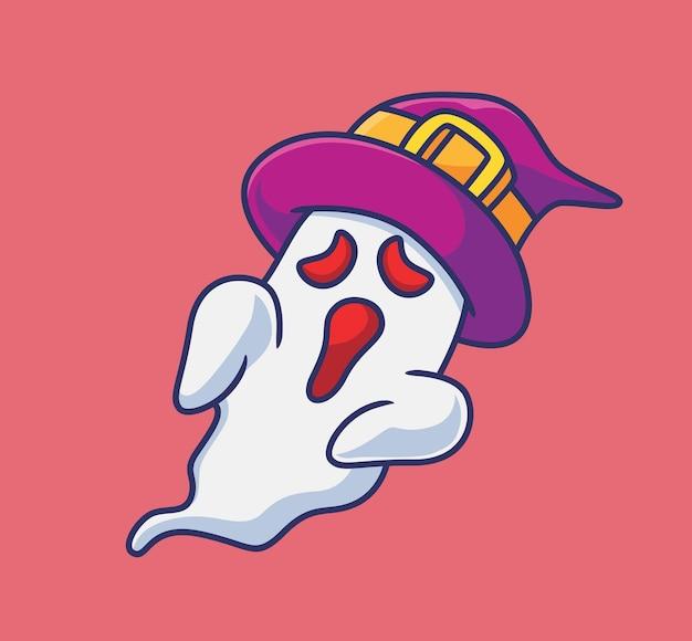 Fantôme mignon portant un chapeau de sorcier dessin animé isolé illustration d'halloween style plat