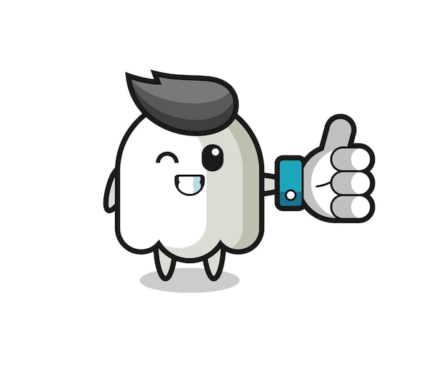 Fantôme mignon avec symbole de pouce levé sur les médias sociaux, design de style mignon pour t-shirt, autocollant, élément de logo