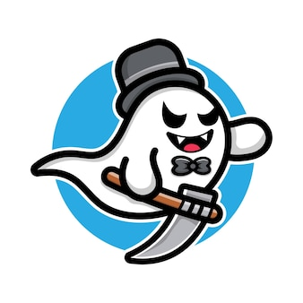 Fantôme mignon tenant le concept d'halloween d'illustration de dessin animé de faux