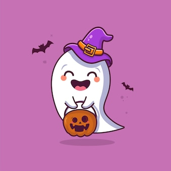Fantôme mignon tenant illustration de dessin animé citrouille fantôme mignon halloween
