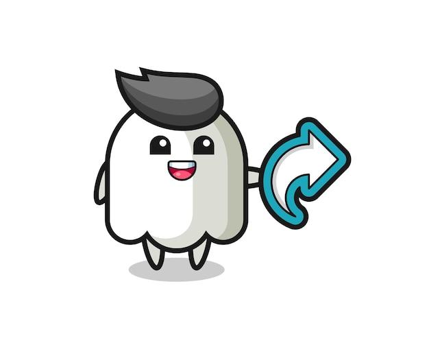 Un fantôme mignon tient un symbole de partage de médias sociaux, un design de style mignon pour un t-shirt, un autocollant, un élément de logo