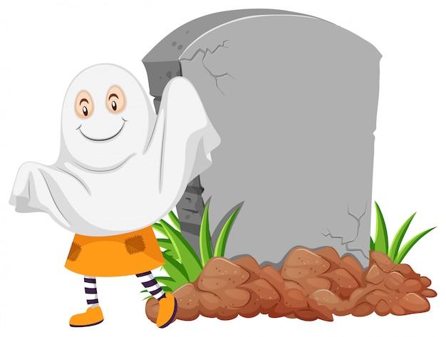 Fantôme près de la pierre tombale