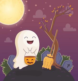 Fantôme avec seau citrouille et balai halloween