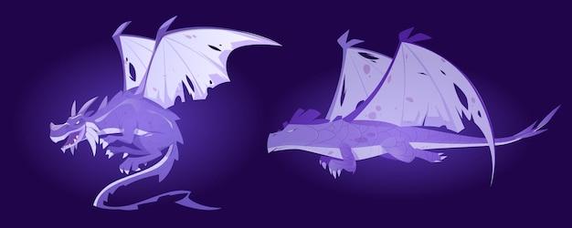 Fantômes de dragon de conte de fées esprits de monstre magique