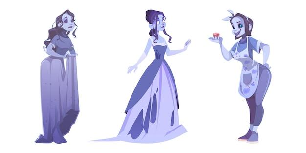 Fantômes de femme, esprits de dames mortes isolés sur fond blanc.