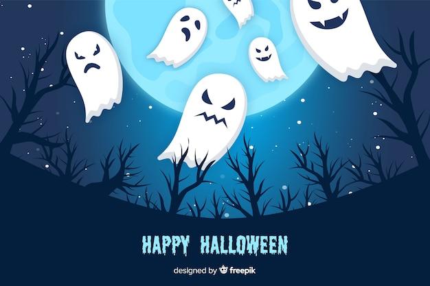 Fantômes et fond d'halloween pleine lune