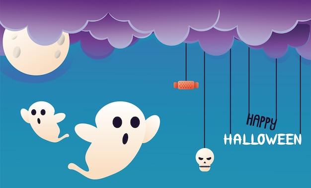 Fantômes d'halloween avec nuages et scène de lune