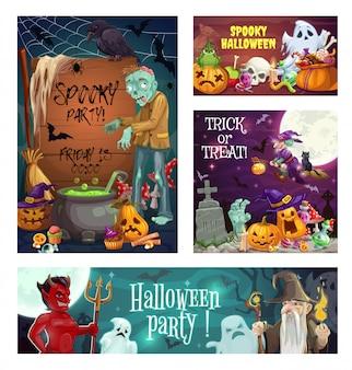 Fantômes d'halloween, sorcière, citrouilles et bonbons