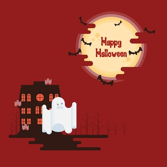 Fantômes d'halloween volant sous la lune
