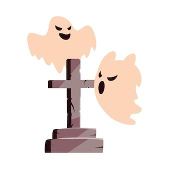 Fantômes joyeux fête d'halloween