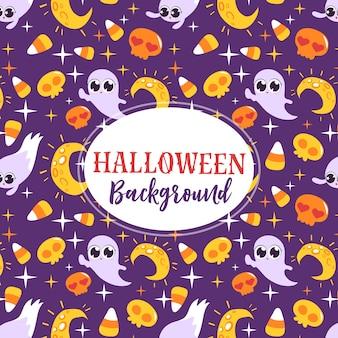 Fantômes mignons et lune, carte de voeux d'halloween