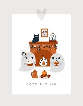 Des fantômes mignons sont assis près de la cheminée avec de délicieuses friandises et du thé la maison hantée