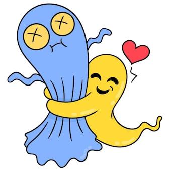 Des fantômes mignons avec des visages heureux s'embrassent quand ils manquent, art d'illustration vectorielle. doodle icône image kawaii.