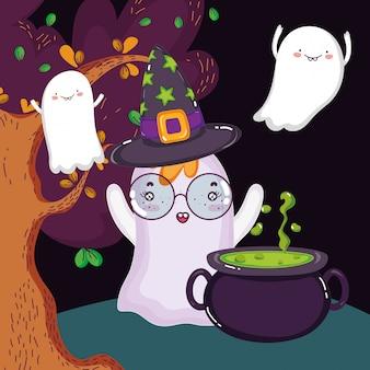 Fantômes sortent des chaudrons halloween