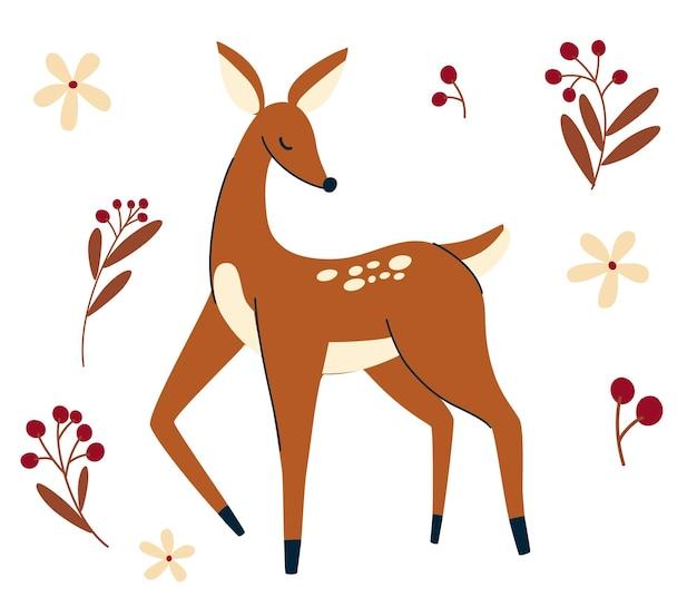 Faon. personnage de cerf mignon. animal sauvage et forestier dessiné à la main. baies et fleurs sauvages. animal des bois scandinave mignon. concept pour la mode pour enfants, impression textile, affiche, carte. illustration vectorielle