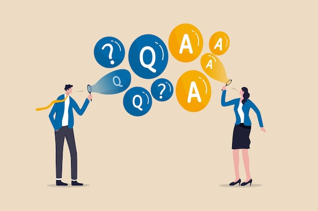 Faq, questions fréquemment posées, discussion ou questions et réponses pour trouver une solution à tout concept de problème
