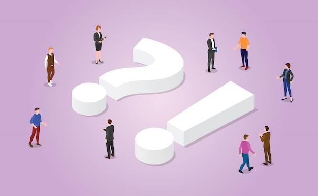 Faq questions fréquemment posées avec des membres de l'équipe et symbole de signe avec un style isométrique moderne