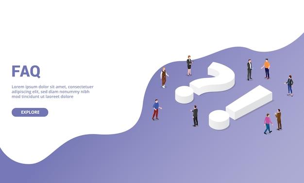 Faq questions fréquemment posées sur les modèles de site web page d'accueil ou bannière de style isométrique