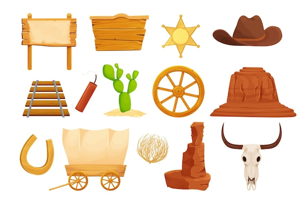 Far west, collection western en style cartoon