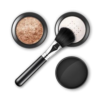 Fard à joues en poudre de maquillage cosmétique émietté dans un boîtier en plastique rond noir