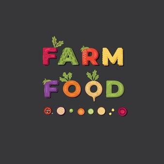 Farm food - création de logo de lettrage. illustration.