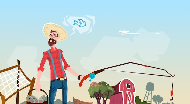 Farmer fishing farmland fond plat vector illustration