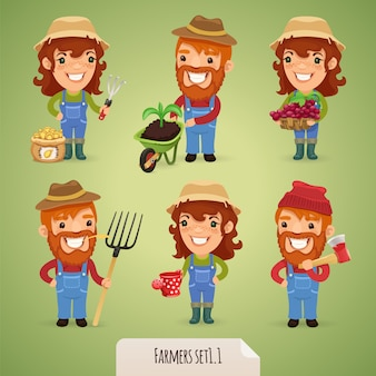 Farmers cartoon character character set