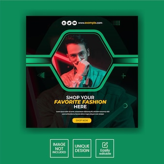 Fashion-instagram-post-template-square-banner-collection
