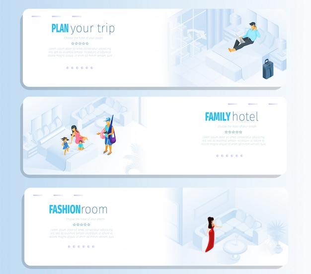 Fashion room family hotel plan bannière de voyage médias sociaux