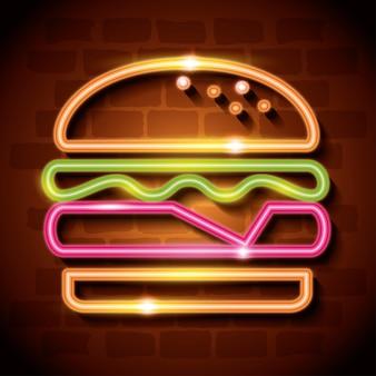 Fast-food burger étiquette néon