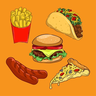 Fast food burger pizza dessiné à la main