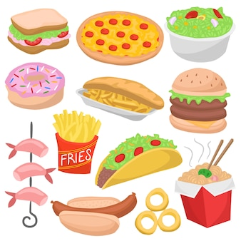Fast food doodle color menu icon restaurant repas