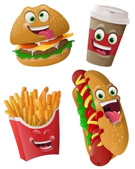 Fast-food fait face à des masques avec la bouche et les yeux d'émoticône extraterrestres
